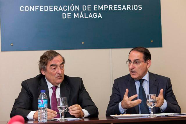 EL PRESIDENTE DE CEOE SE REÚNE CON EL PRESIDENTE DE CEA Y CEM EN UN ENCUENTRO CON LOS EMPRESARIOS MALAGUEÑOS