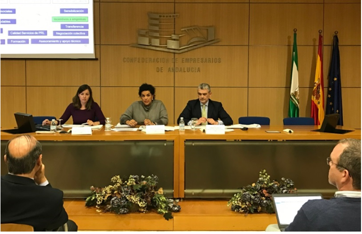 De izquierda a derecha, la responsable del Gabinete de PRL, la presidenta de la Comisión de PRL y el director del Área Jurídica y Relaciones Laborales durante la reunión de la Comisión de PRL de CEA el 10 de marzo de 2017