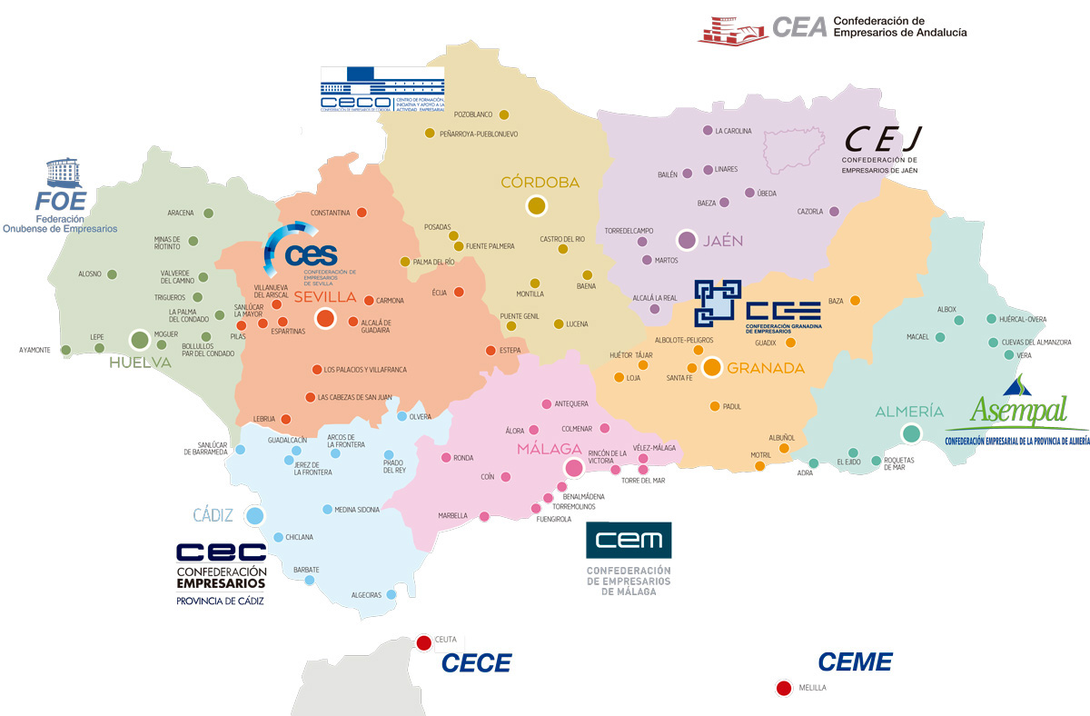 Mapa de la Red Territorial de la Confederación de Empresarios de Andalucía
