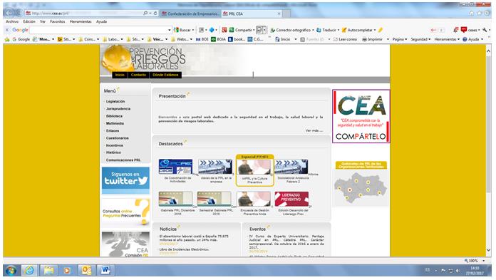 Portal web de prevención de riesgos laborales de CEA