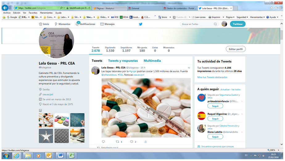 Instantánea tomada de la cuenta twitter del Gabinete de PRL de CEA